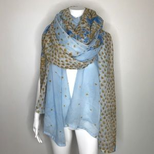 Indian Long Silky Blue Floral Wrap Scarf